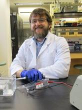 Dr. Lou Hirsch in the teaching lab.