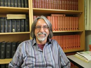 Dr. Peter Nagy in the library.