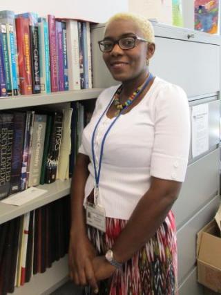 Dr. Yyonne Fondufe-Mittendorf in her office.