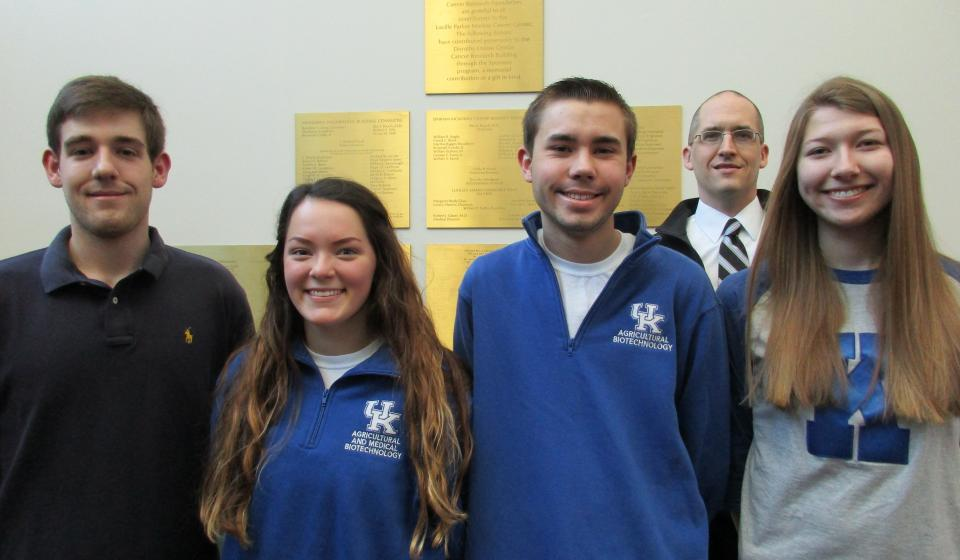 Four Ag & Medical Biotech students are involved in cancer research as part of their undergraduate training.
